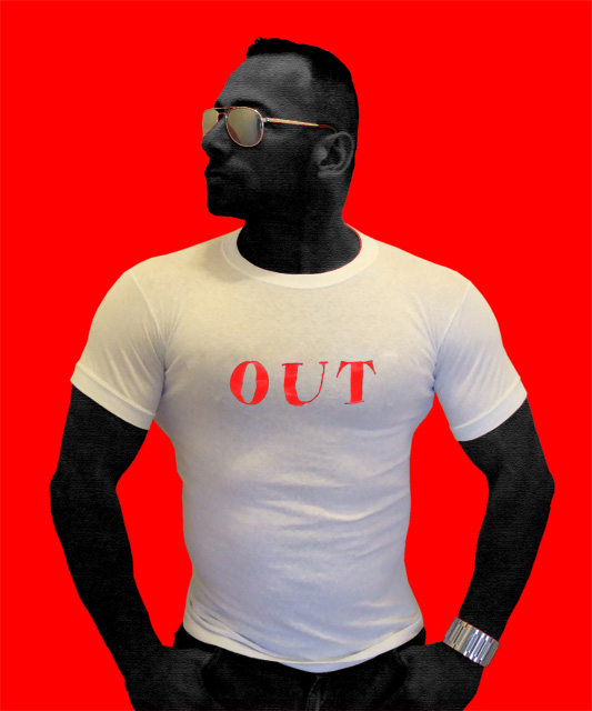 White/Red Latex Lettering T-Shirt: OUT