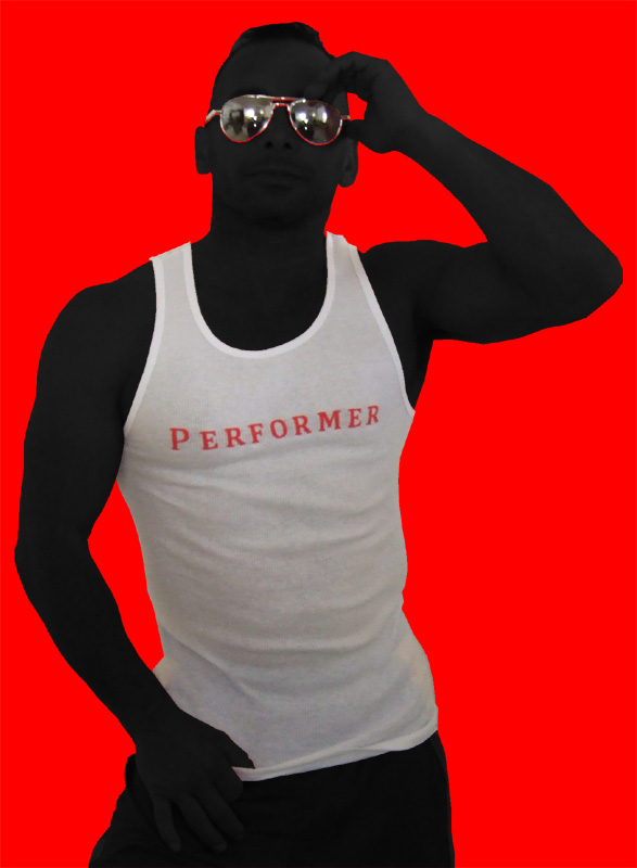 White/Red Lettering Tank: PERFORMER